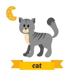 Cat C letter Cute children animal alphabet in vector image