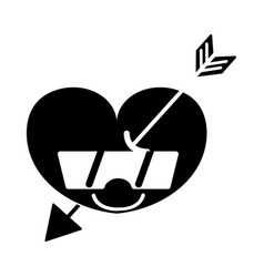 Contour happy heart with arrow kawaii and vector