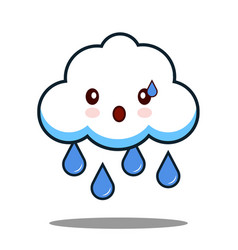 Cute cloud rain kawaii face icon cartoon character vector