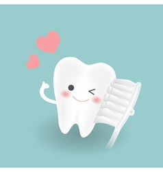 cute smiley white tooth feels confindent while vector image