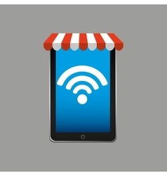 E-commerce concept hand holding smartphone wifi vector