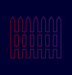 Fence simple sign line icon with gradient vector