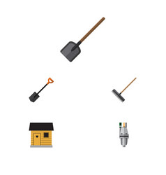 Flat icon dacha set of spade shovel pump and vector