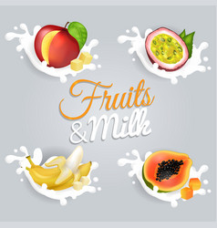 Fruits and milk set vector
