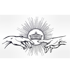 God and adams hands with divine crown vector