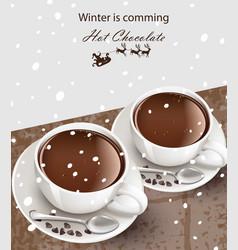hot chocolate cups realistic cinnamon vector image