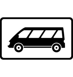 Icon with black mini bus silhouette vector