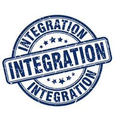 Integration blue grunge stamp vector