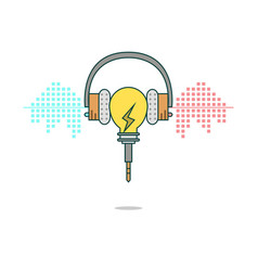 Isolated cartoon light bulb listening music with h vector image