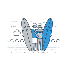 Man and woman on the beach with surf boards vector