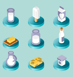 milk flat isometric icons vector image