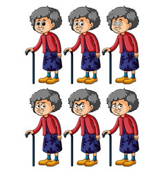 Old woman with different emotions vector