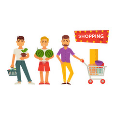 Shopping time bright signboard and male cartoon vector