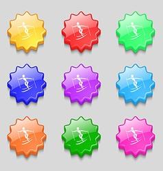 Skier icon sign symbol on nine wavy colourful vector image