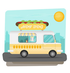 street fast food truck set flat design vector image