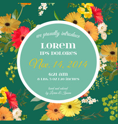 Summer and spring floral card in watercolor style vector