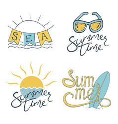 Summer set of logo design for banner poster vector