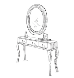 Table and mirror sketch vector