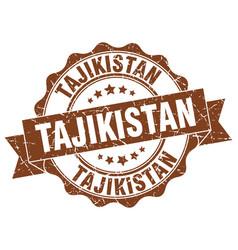 Tajikistan round ribbon seal vector
