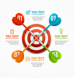 Target with arrow menu infographic option banner vector