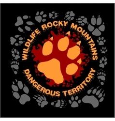 Wolf footprint emblem for t-shirt vector