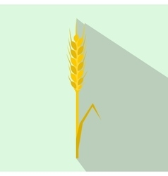 Yellow rye ear icon flat style vector