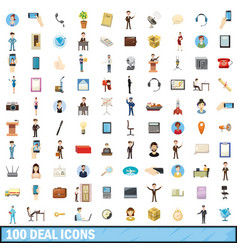 100 deal icons set cartoon style vector