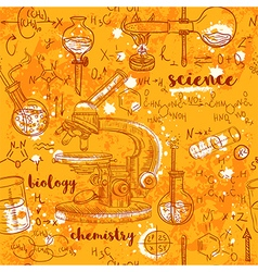 Seamless pattern old chemistry laboratory vector