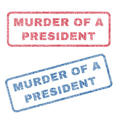 Murder of a president textile stamps vector