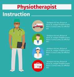 Medical equipment instruction for physiotherapist vector