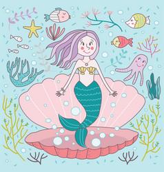 Whimsical cute mermaid clam vector