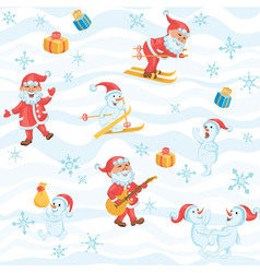 Christmas pattern with santa snowman snowflakes vector