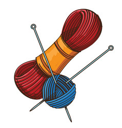 set of knitting threads and clew with knitting vector image
