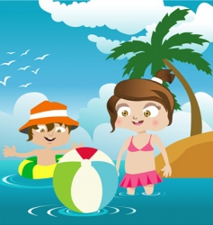 kids on the beach vector image