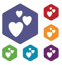 Love hexagon icon set vector
