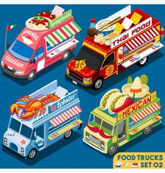 Food truck set02 vehicle isometric vector