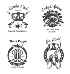 Scuba diving club labels set underwater swimming vector