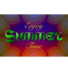 Hand drawn green leafs text enjoy summer time vector