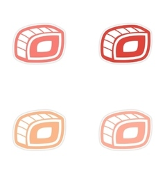 Assembly sticker sushi roll on a bright white vector