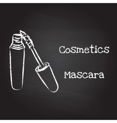 Mascara painted with chalk on blackboard vector