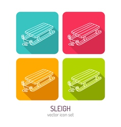 Line art kids wooden sleigh icon set in four color vector