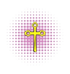 Religious symbol of crucifix icon comics style vector