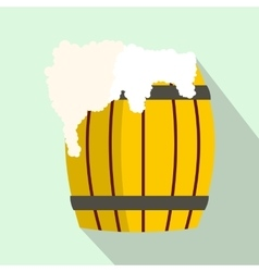 Wooden barrel of beer with froth icon flat style vector