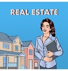 Woman real estate agent pop art vector