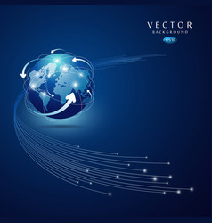 Globe network connection blue background vector
