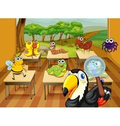 Animals in classroom vector