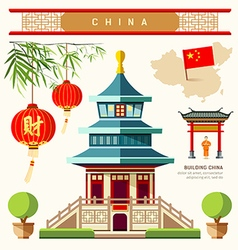 Buildings of china style collections vector