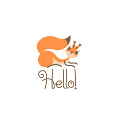 cartoon cute squirrel greeting little funny hello vector image