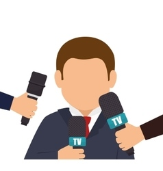 character interview news microphone graphic vector image vector image