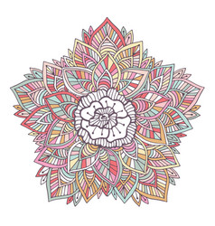 Colorful mandala ornament for coloring book vector